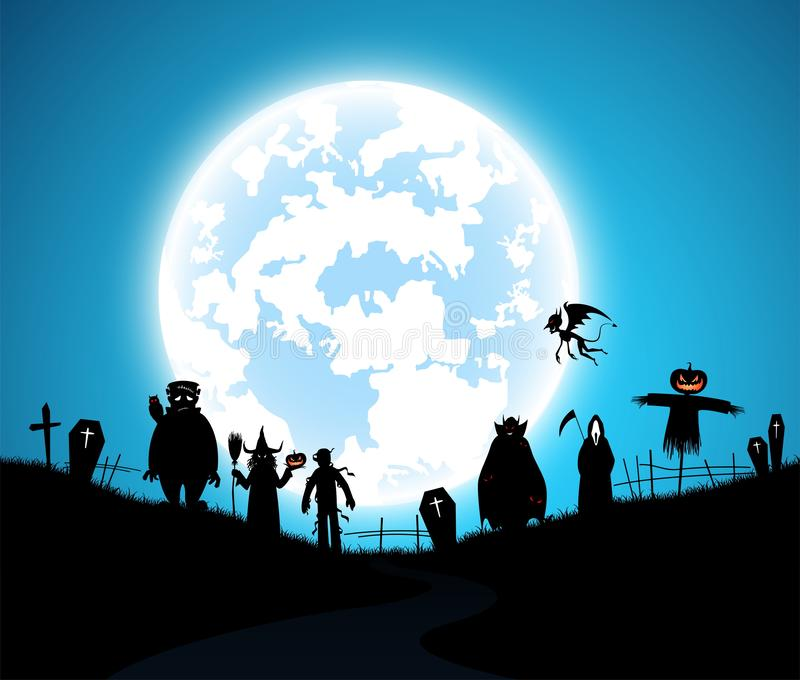 Illustration blue background,festival halloween concept,full moon on dark night with many ghost,scarecrow royalty free stock image