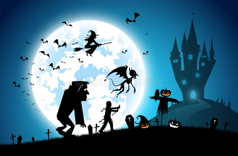 Illustration blue background,festival halloween concept stock illustration