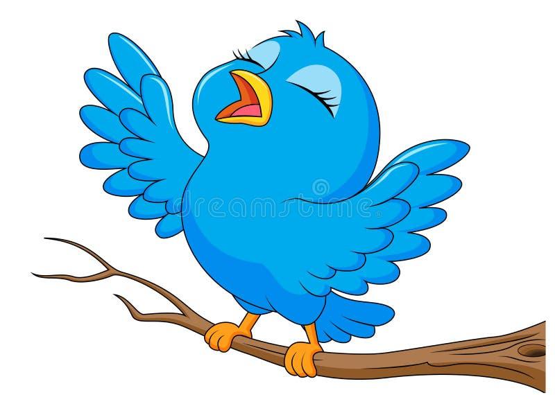 Blue bird cartoon singing vector illustration