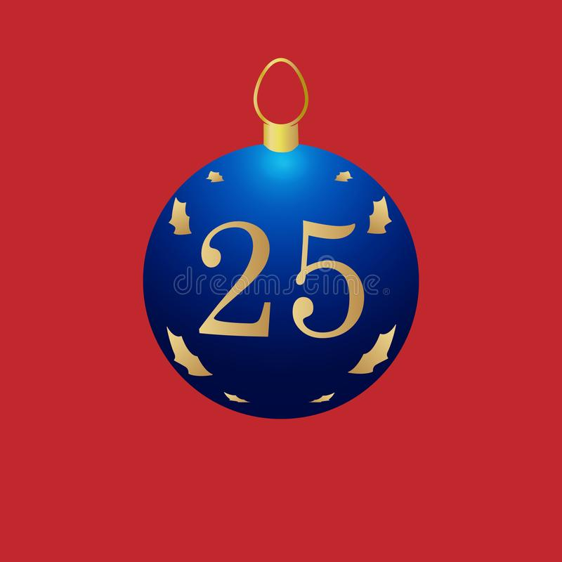 Christmas ball with number 25. Illustration of blue Christmas ball decoration number 25 on red background stock illustration