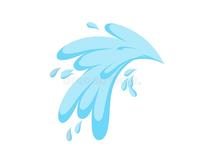 Illustration of a blue color splash on white background. Water, liquid, drink, splatter, logo, shape, spot, , creative, flat, sign, symbol, paint, modern, drip stock illustration