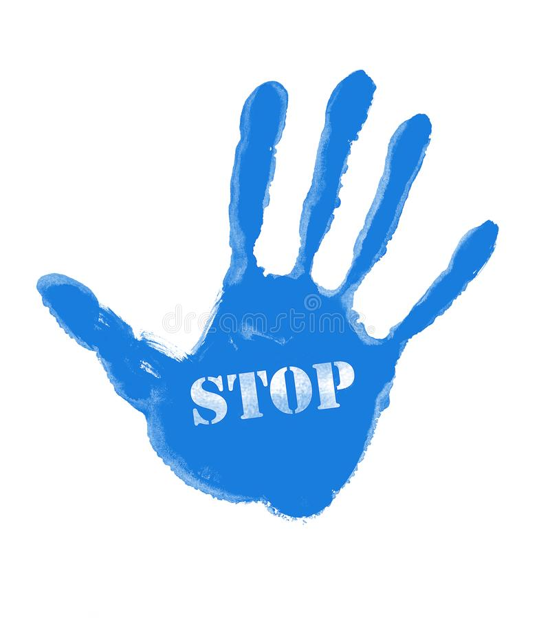 Blue handprint with the word STOP. Illustration of blue handprint with the word STOP vector illustration