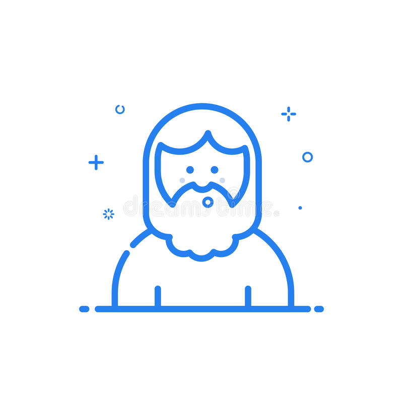 illustration of blue icon in flat line style. Linear blue cute and happy man. stock illustration