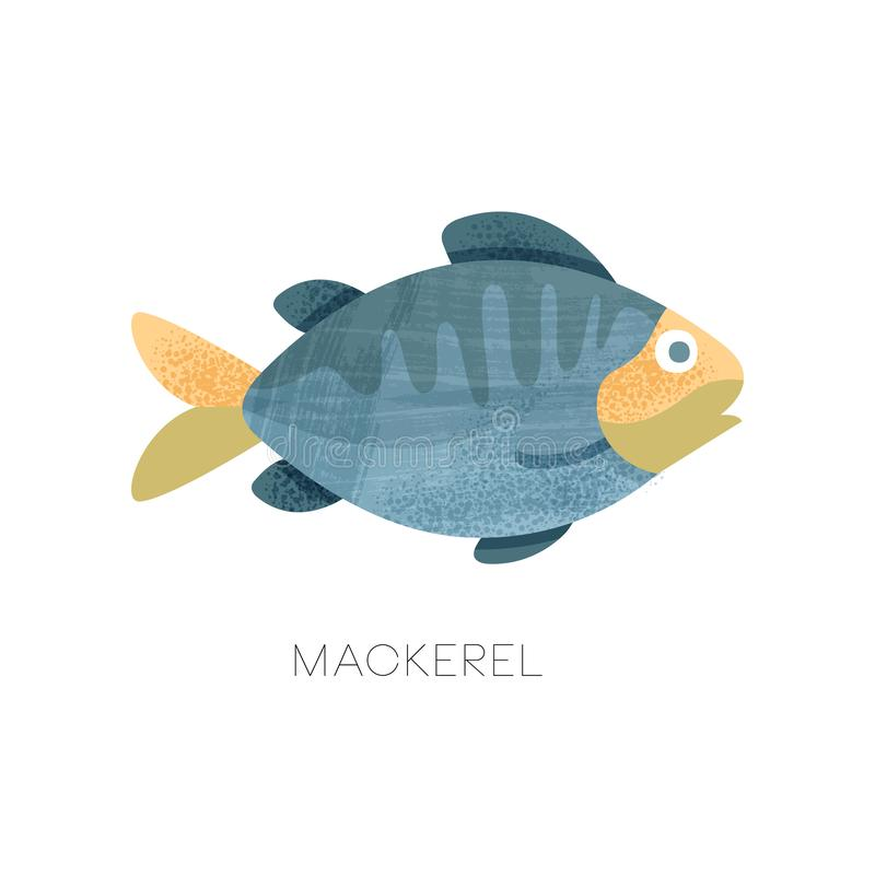 Flat vectir icon of blue mackerel with texture. Predatory fish. Marine animal. Seafood theme royalty free illustration