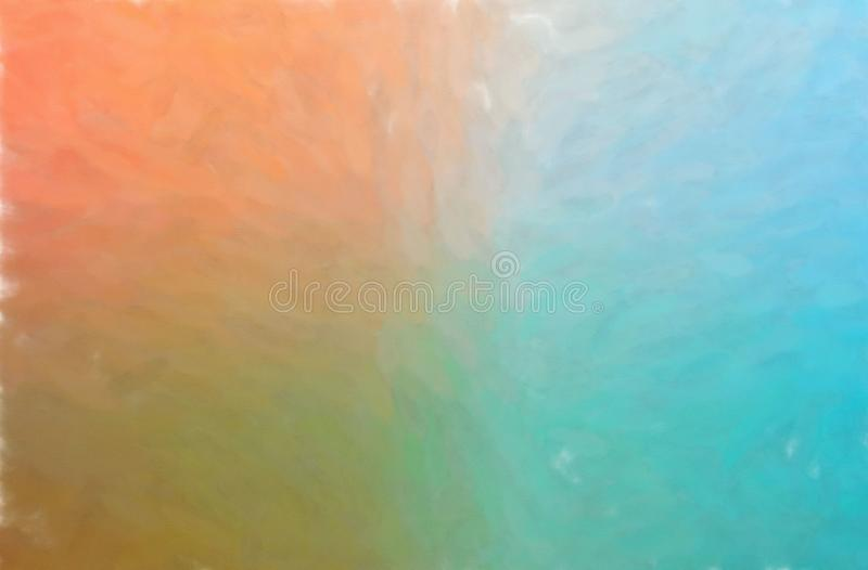 Illustration of blue, orange and green watercolor wash horizontal background. Illustration of blue, orange and green watercolor wash horizontal background stock illustration