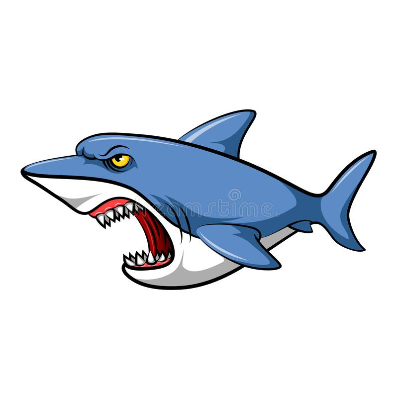 Blue shark cartoon royalty free illustration