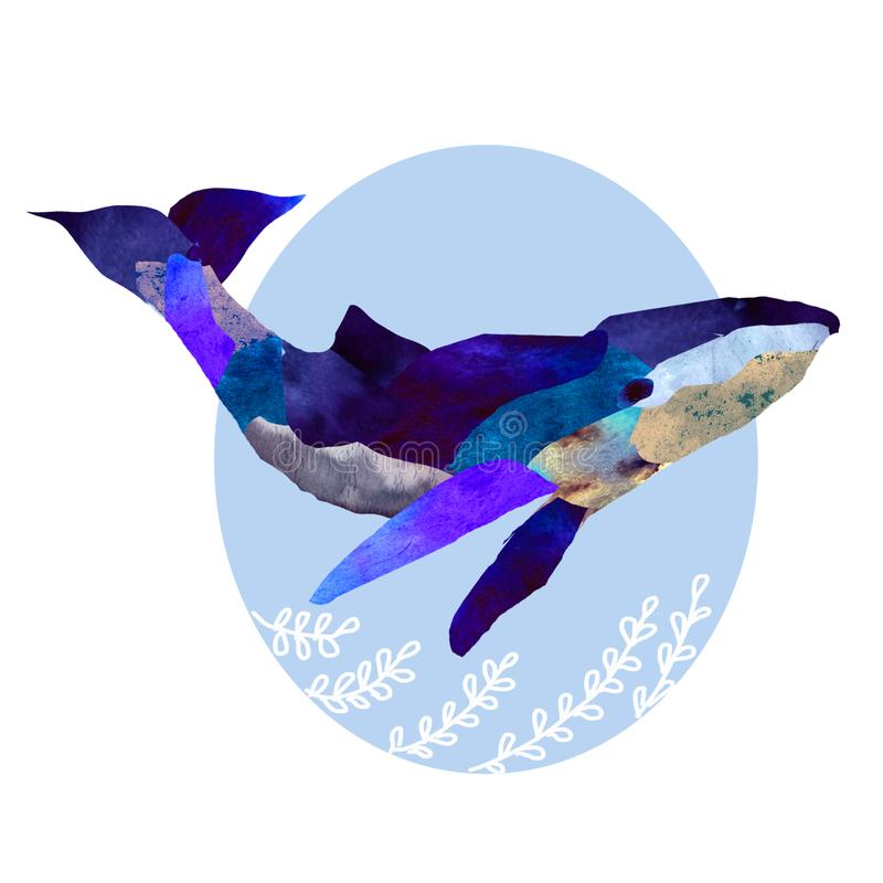 Illustration of a blue whale royalty free illustration