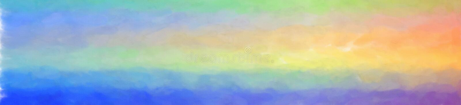 Illustration of Blue And Yellow Watercolor Wash background, abstract banner. stock illustration