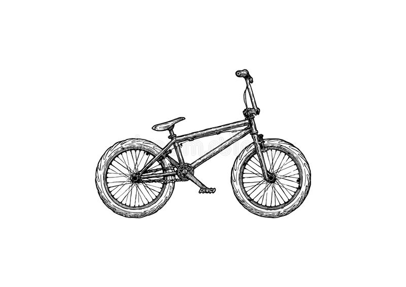 Illustration of BMX bike. Off-road sport bicycle. Vector ink hand drawn illustration of BMX bike in vintage engraved style vector illustration