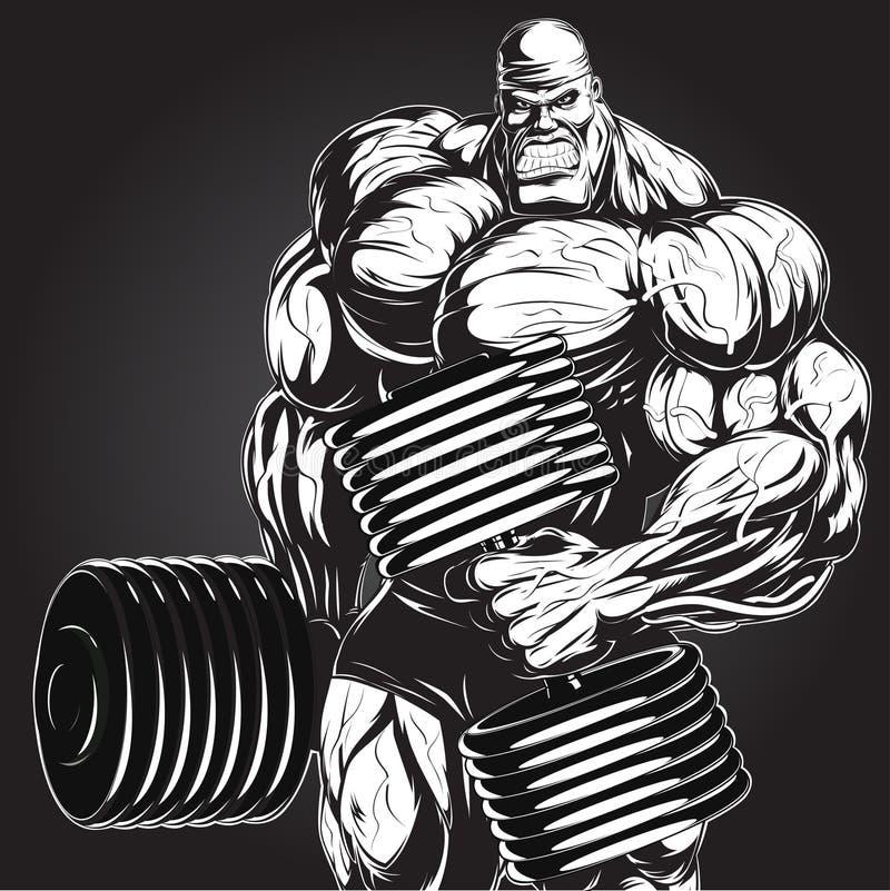 Illustration : bodybuilder avec l'haltère illustration stock