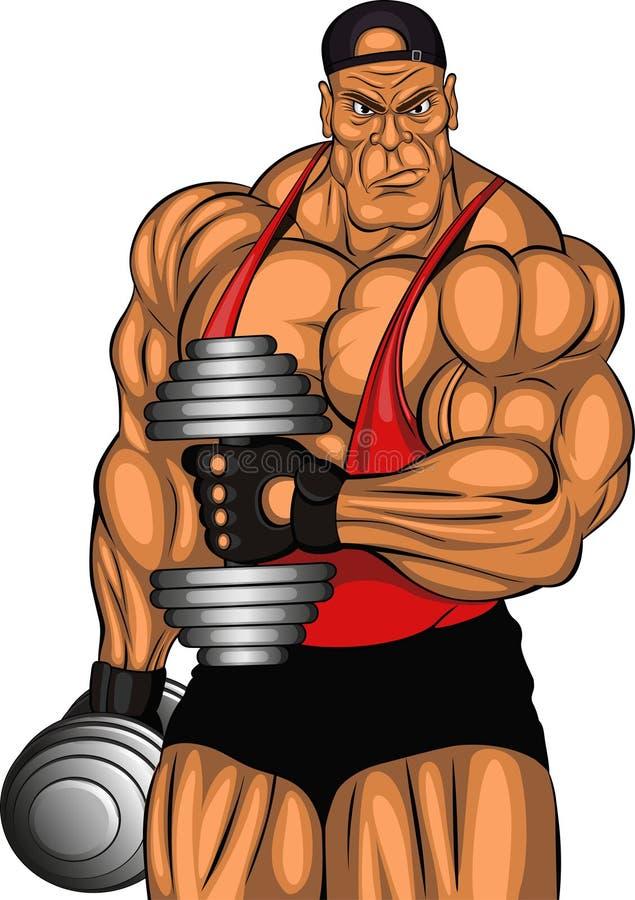 Illustration: Bodybuilder mit Dummköpfen vektor abbildung