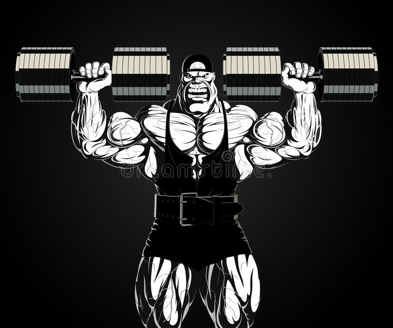 Illustration: Bodybuilder mit Dummkopf stock abbildung