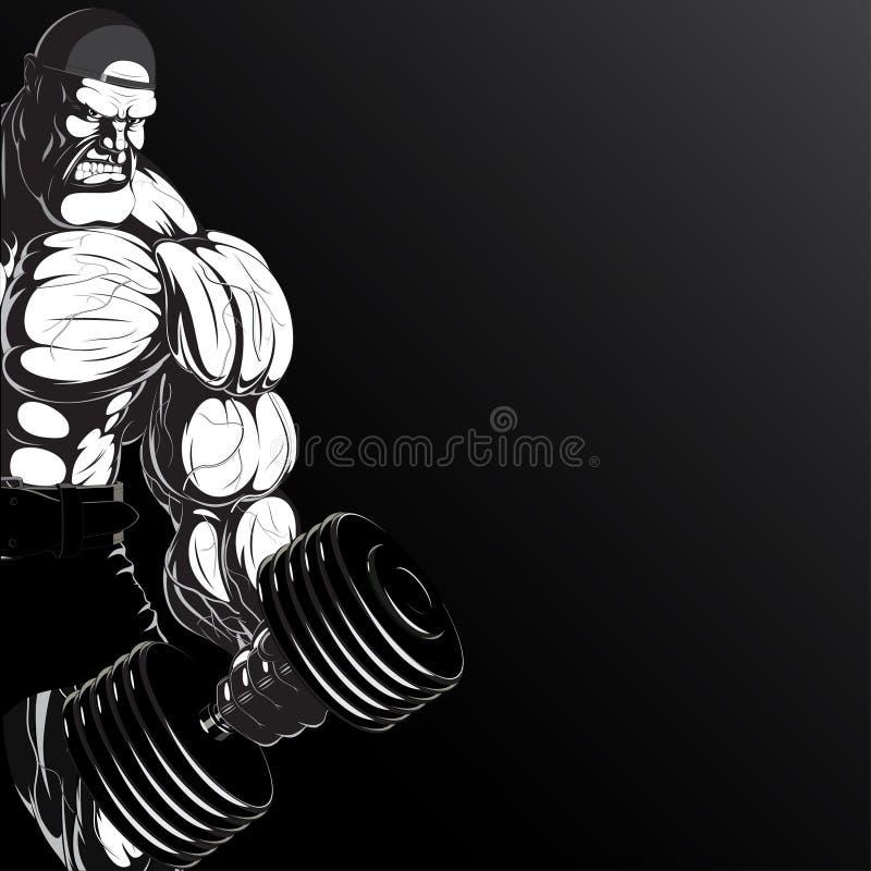Illustration: Bodybuilder mit Dummkopf lizenzfreie abbildung