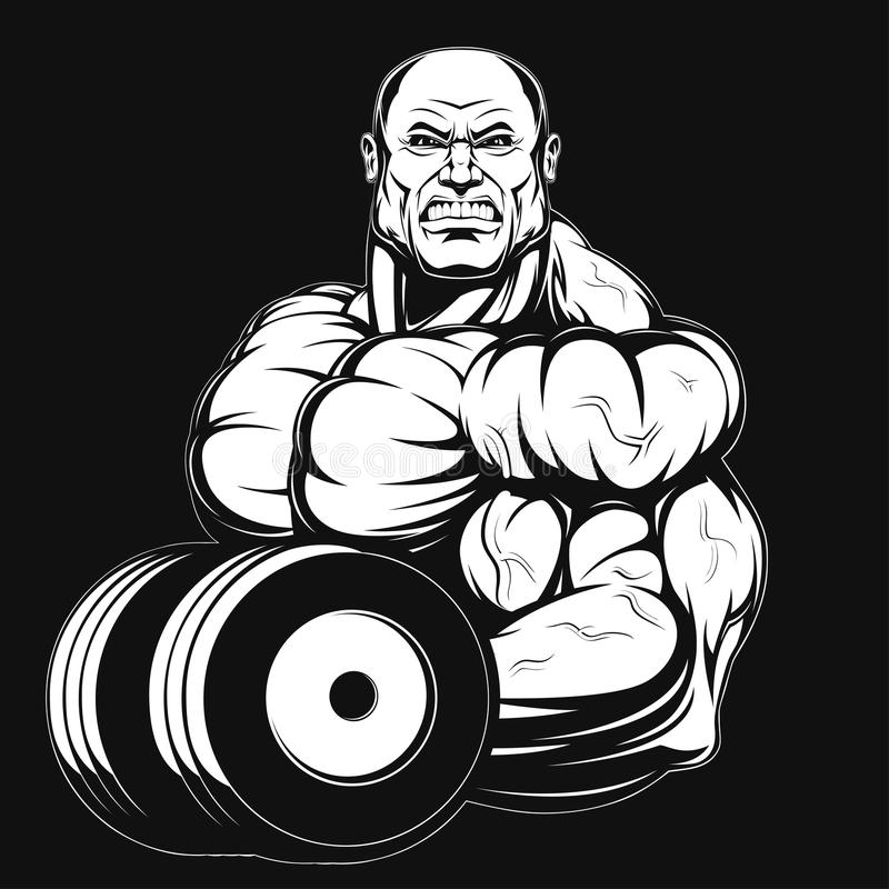 Illustration, Bodybuilder mit Dummkopf stock abbildung