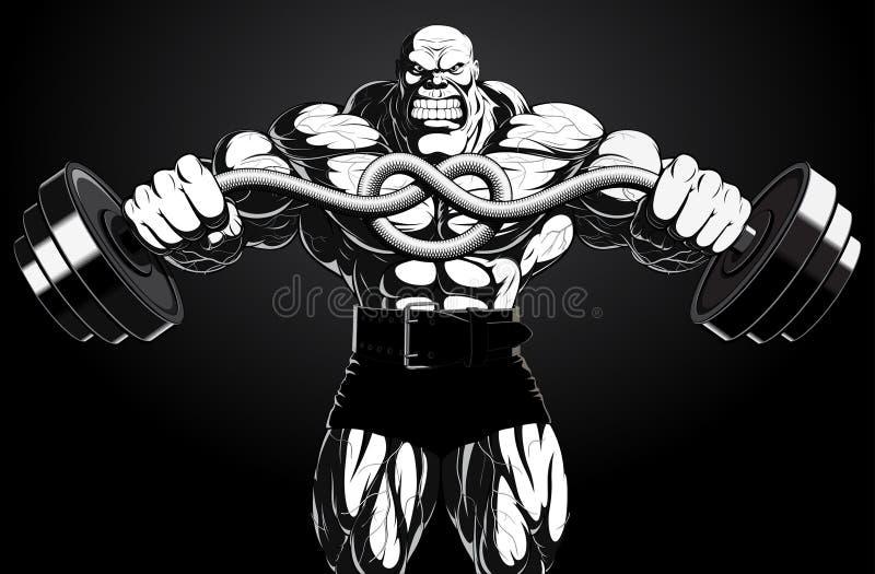 Illustration: Bodybuilder mit einem Barbell lizenzfreie abbildung