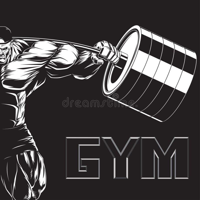 Illustration: Bodybuilder mit einem Barbell stock abbildung