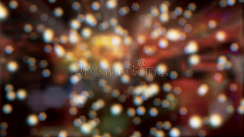 Bokeh effect from blurred highlights and reflections on colorful background royalty free stock image