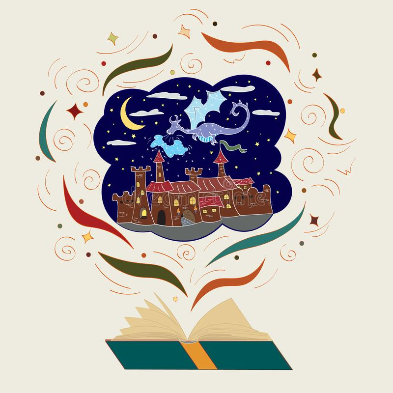 Illustration for the book of fairy tales winter dragon over the castle.  stock illustration