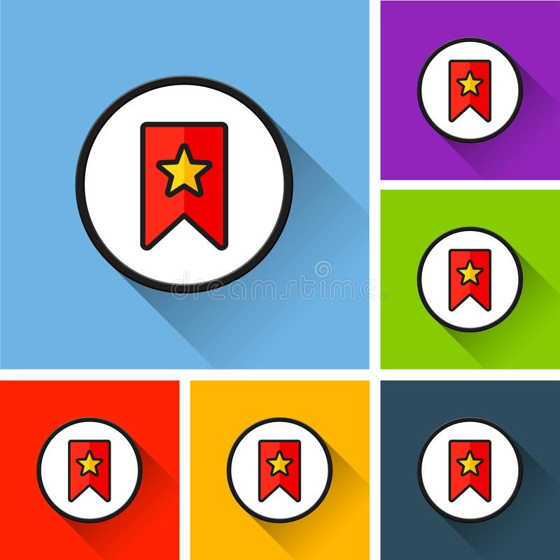 Bookmark icons with long shadow royalty free illustration