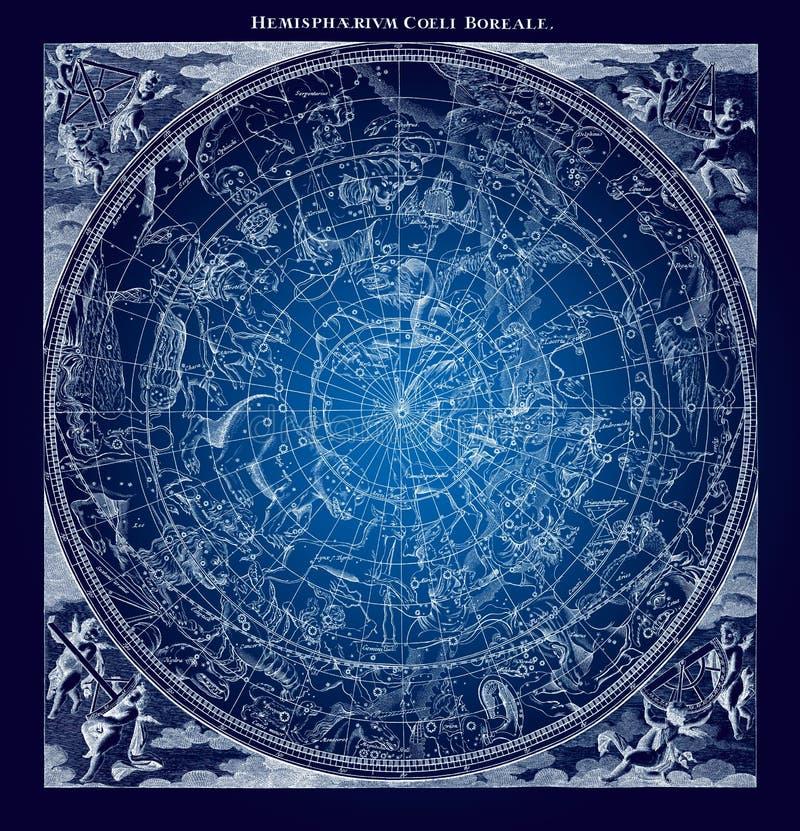 Illustration boréale bleue de constellations illustration stock