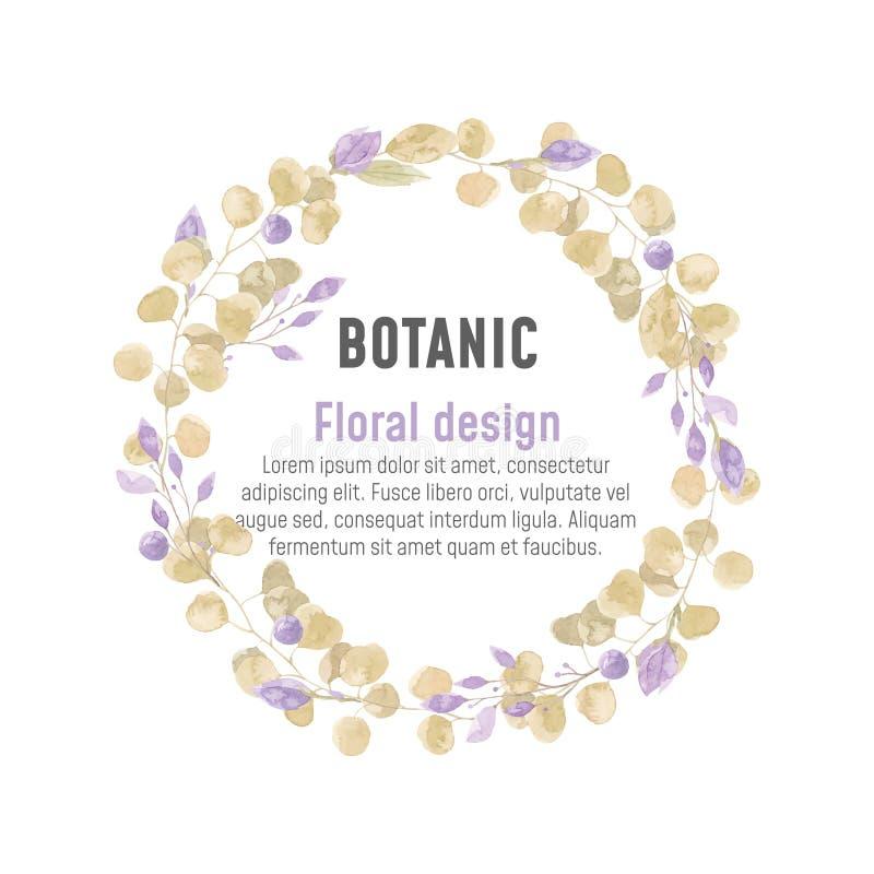 Illustration botanique d'aquarelle pourpre et brune illustration libre de droits