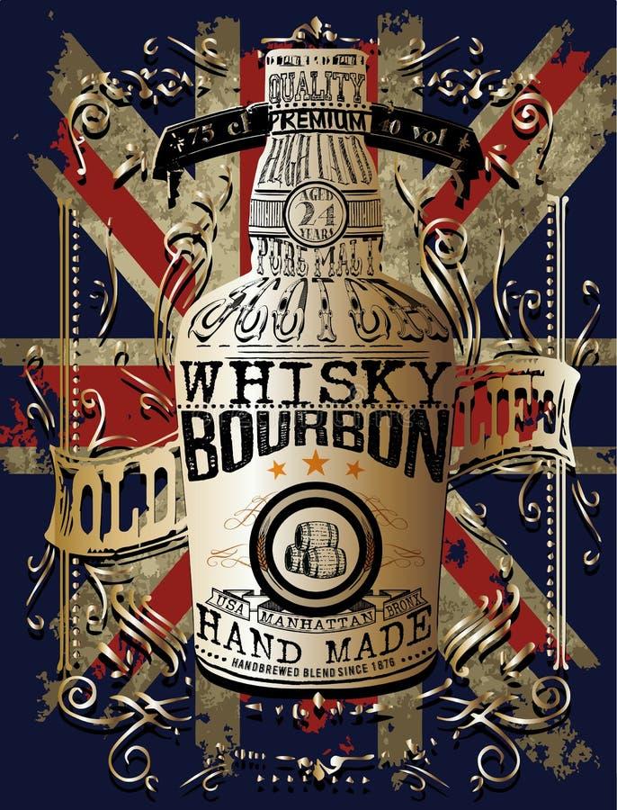 Illustration of a bottle of Whisky stock illustration