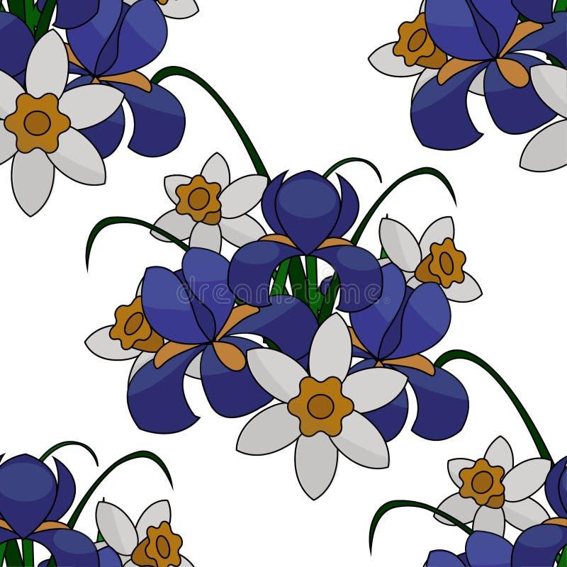 Illustration, bouquet des fleurs, iris bleus et jonquilles blanches et jaunes, avec les branches vertes, modèle sans couture illustration de vecteur