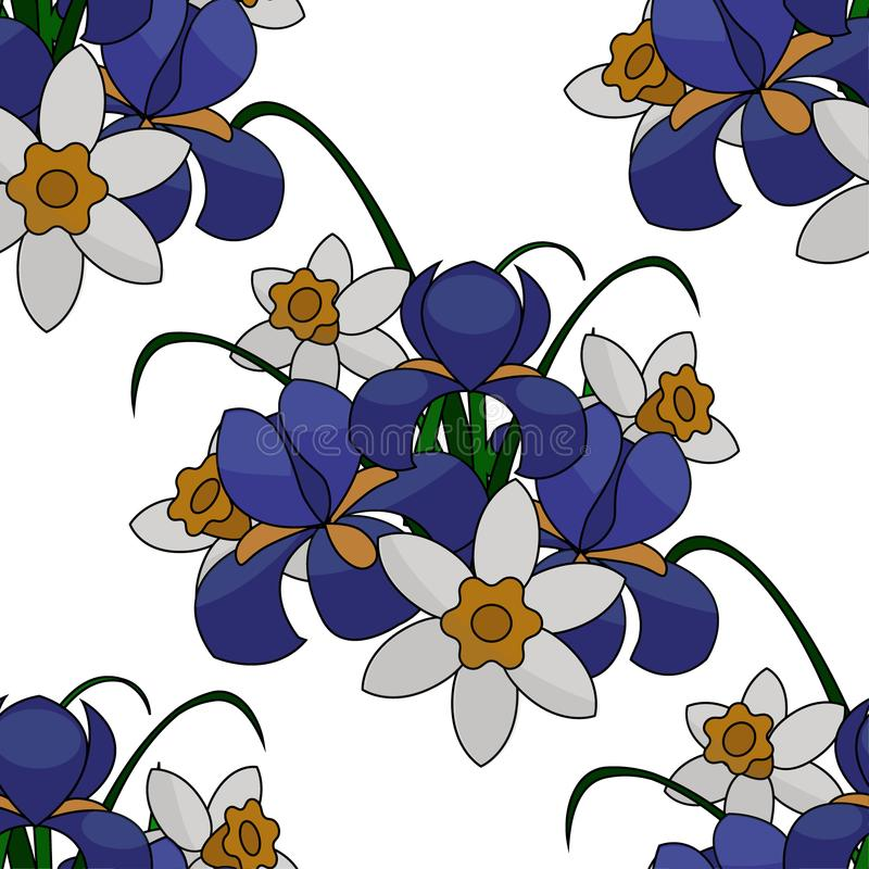Illustration, bouquet of flowers, blue irises and white and yellow daffodils, with green branches, seamless pattern. Drawing for printing on fabrics, paper vector illustration