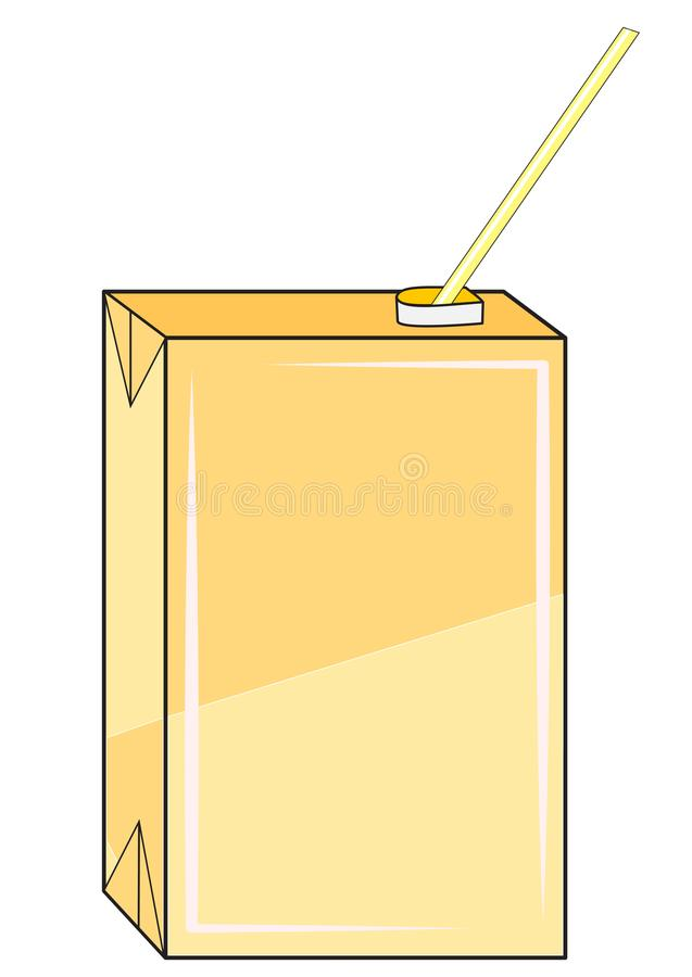 Box with juice. Illustration of a box with juice and a straw stock illustration