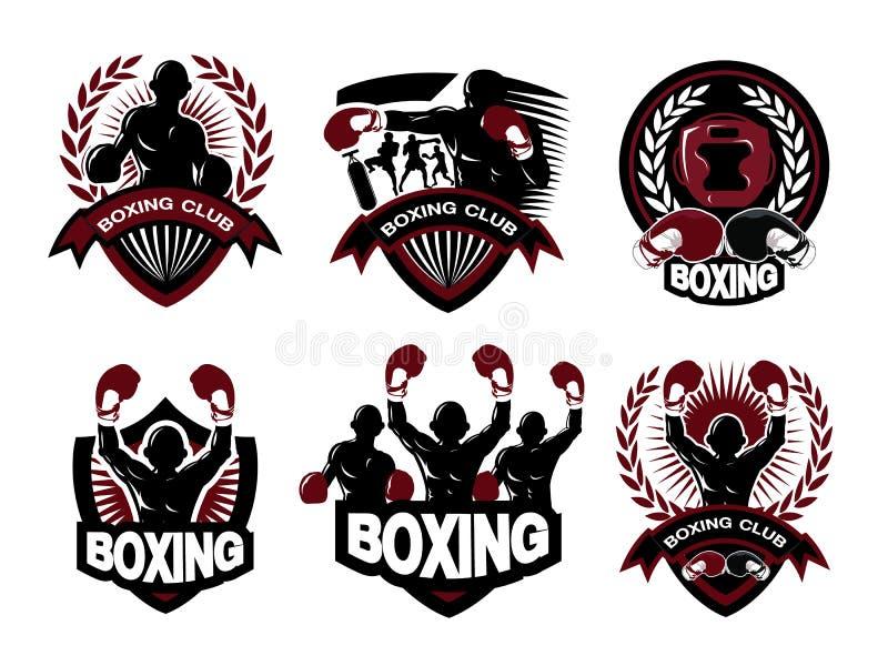 Illustration of boxing logo set royalty free illustration