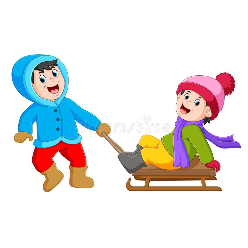 A boy with a blue jacket is pulling the ice cart with the girl on it vector illustration