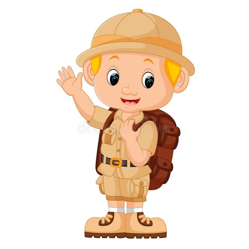 Illustration of Boy camping. Illustration of cute Boy camping royalty free illustration