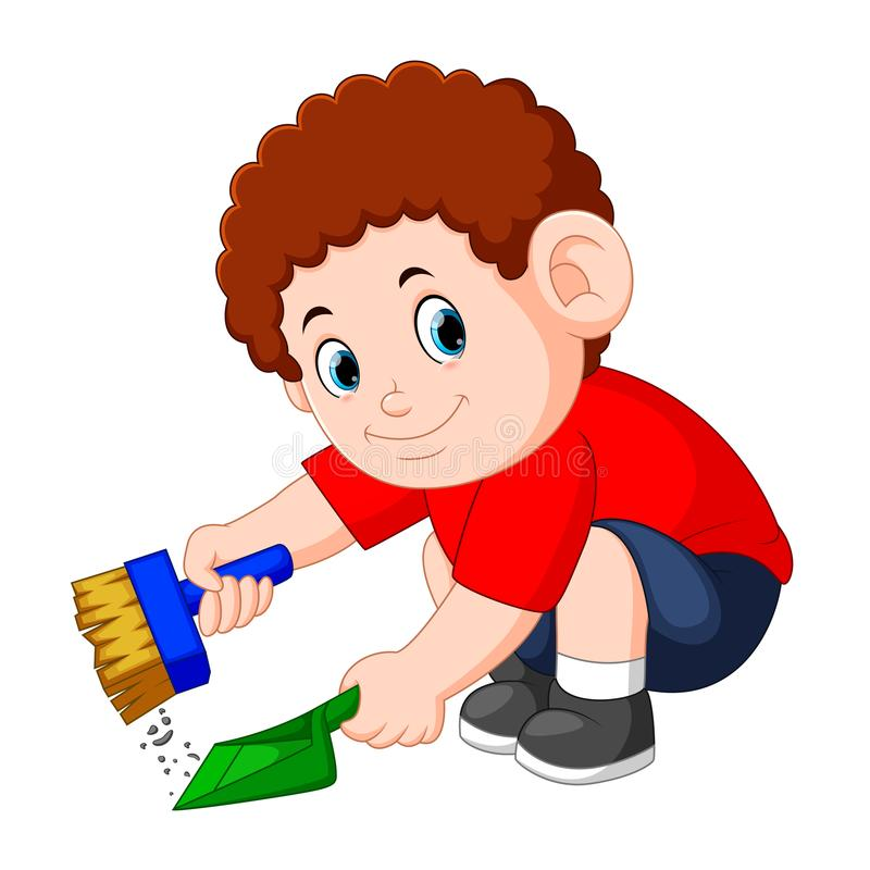 The boy with the curly hair clean up the dust with the shade. Illustration of the boy with the curly hair clean up the dust with the shade stock illustration