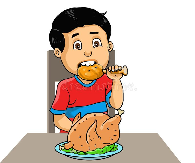 Illustration boy eat fried chicken. Illustration boy eat a chicken at home at kitchen table.  Kid cartoon color illustration royalty free illustration