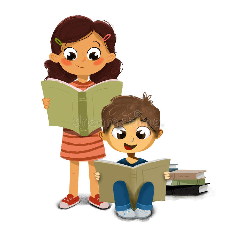 Illustration of a Boy and girl reading a book stock illustration