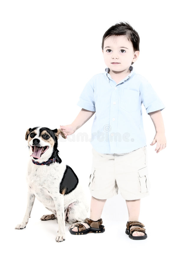 Illustration of a Boy And His Dog vector illustration