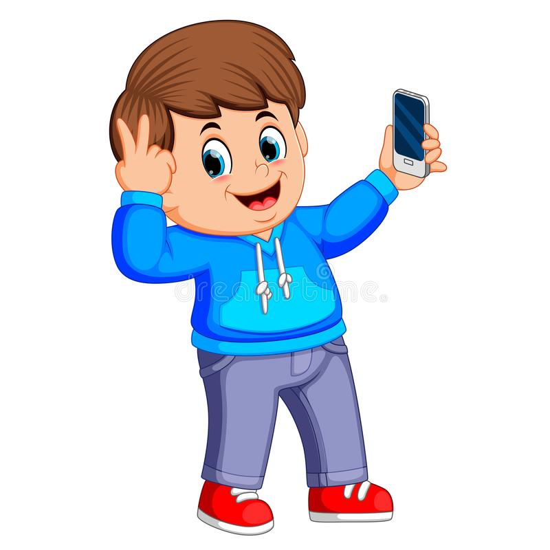 Boy holding his smartphone with his hand and taking a selfie of himself. Illustration of boy holding his smartphone with his hand and taking a selfie of himself stock illustration