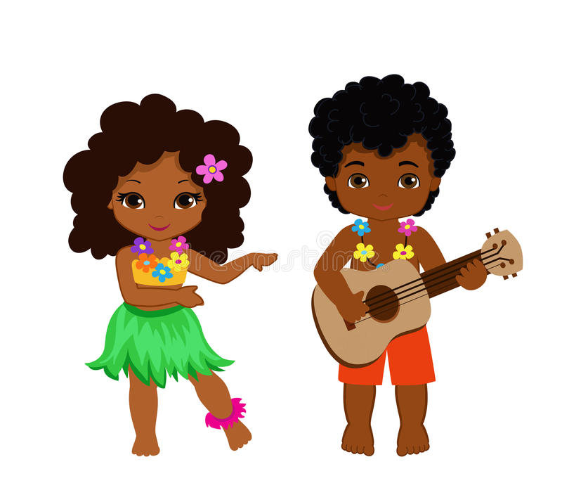 Illustration Of Boy Playing Guitar And Hawaiian Girl Hula ...