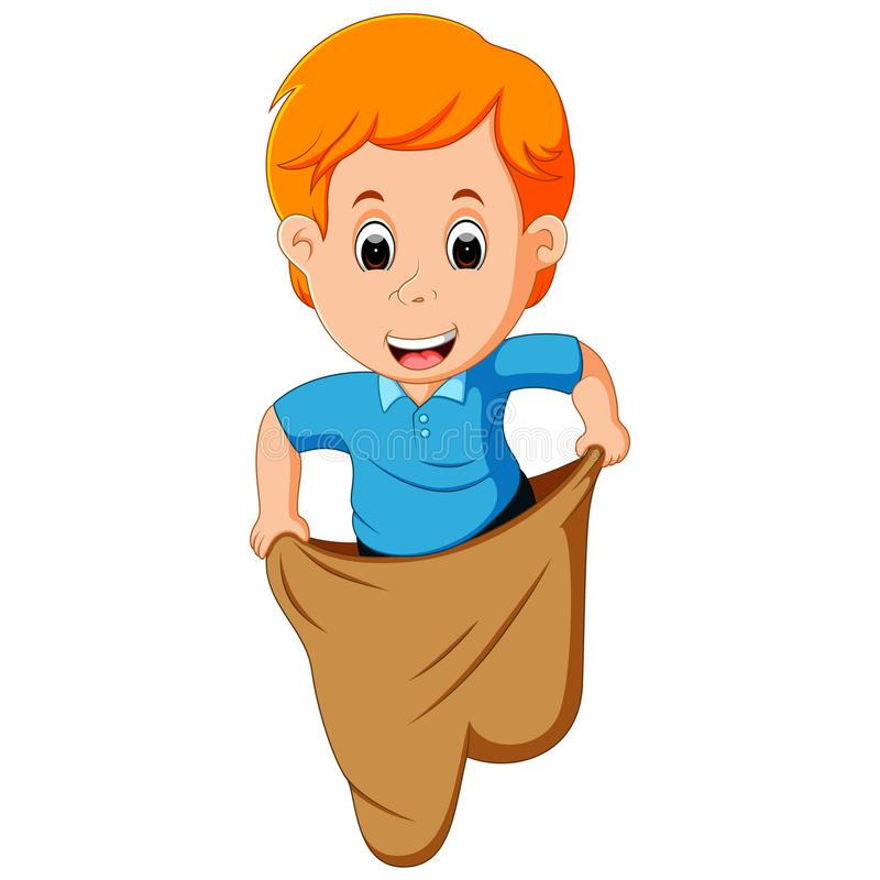Boy playing jumping sack race. Illustration of Boy playing jumping sack race royalty free illustration