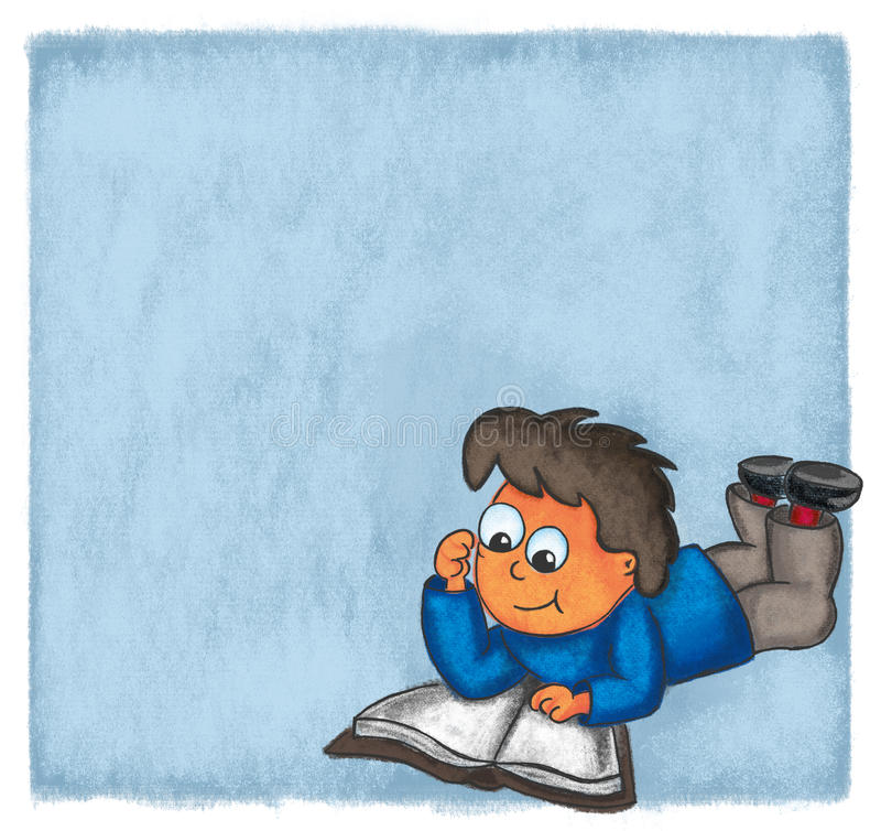 Download Illustration Boy Reading Book Comic Evening Chalk Stock Illustration - Illustration of engrossed, isolated: 91434220