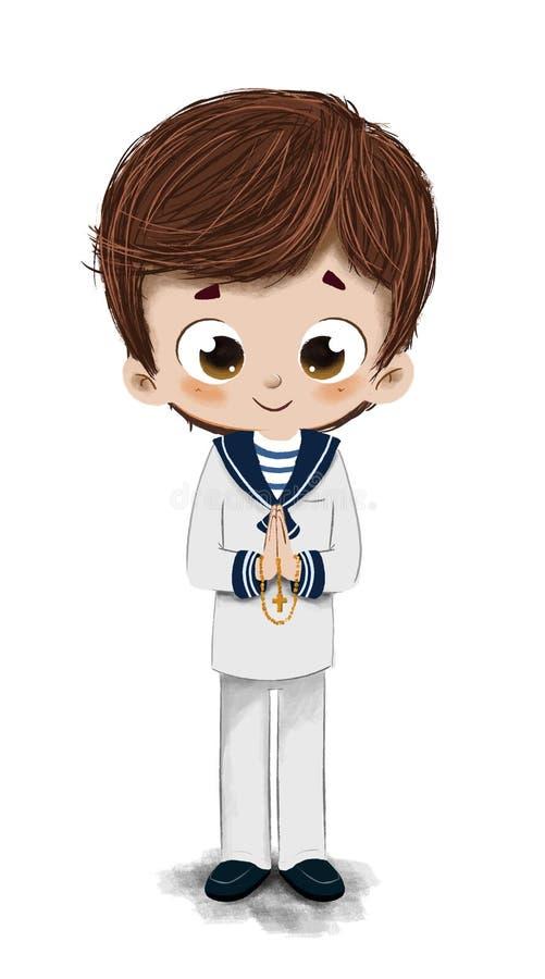 Boy receiving First Communion stock illustration