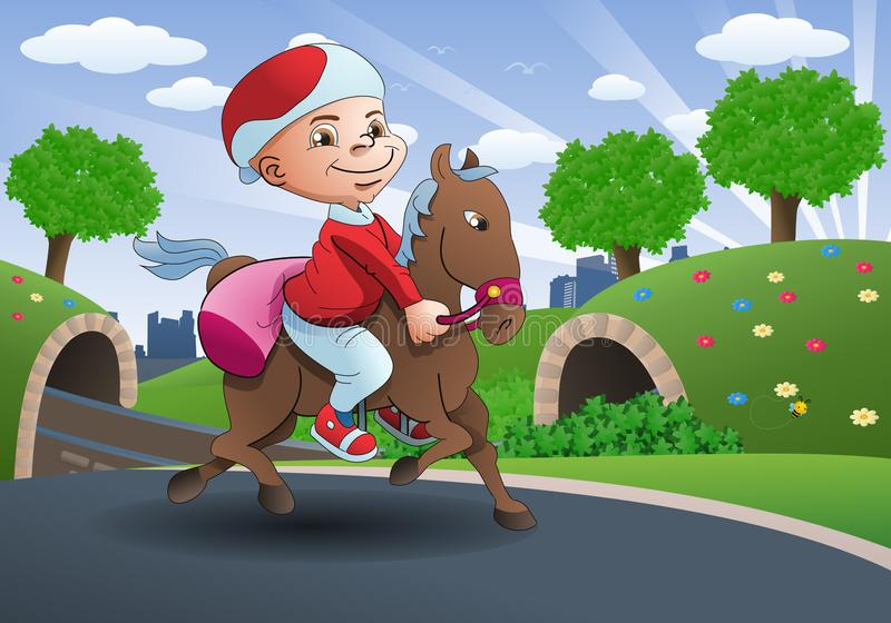 Illustration of a boy riding a horse for traveling stock illustration