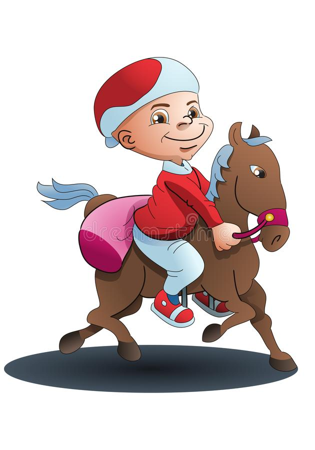 boy riding a horse for traveling isolated stock illustration