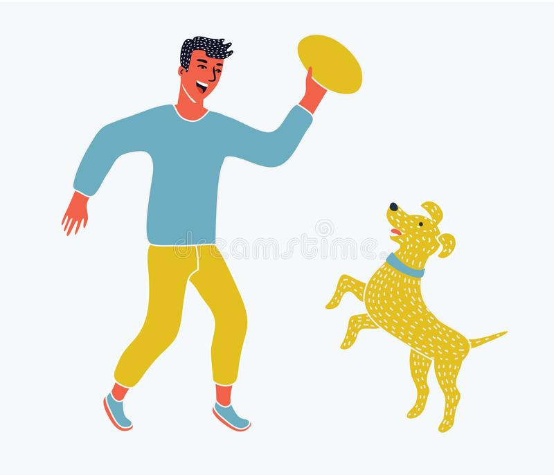 Illustration of a boy running with his pet dog. Vector cartoon funny illustration of a happy man play with his pet dog. Isolated on white background vector illustration