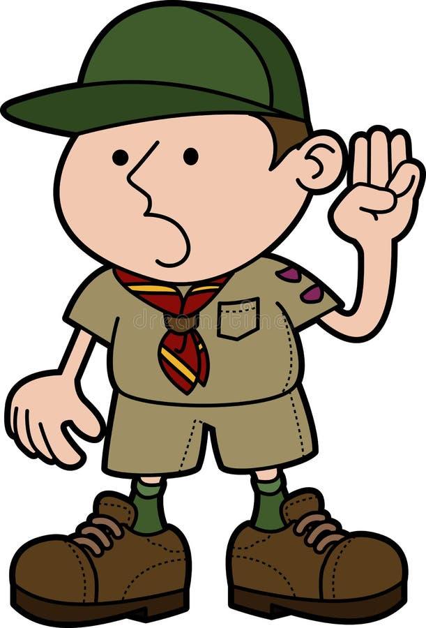 Illustration of boy scout. Giving pledge vector illustration
