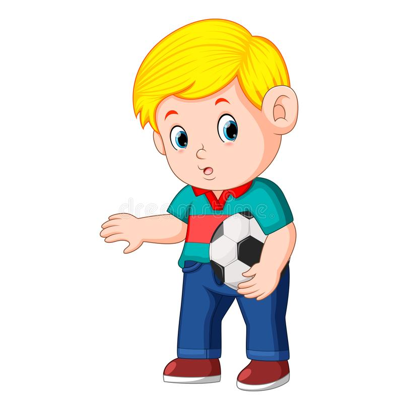 Boy standing and holding the ball. Illustration of boy standing and holding the ball stock illustration