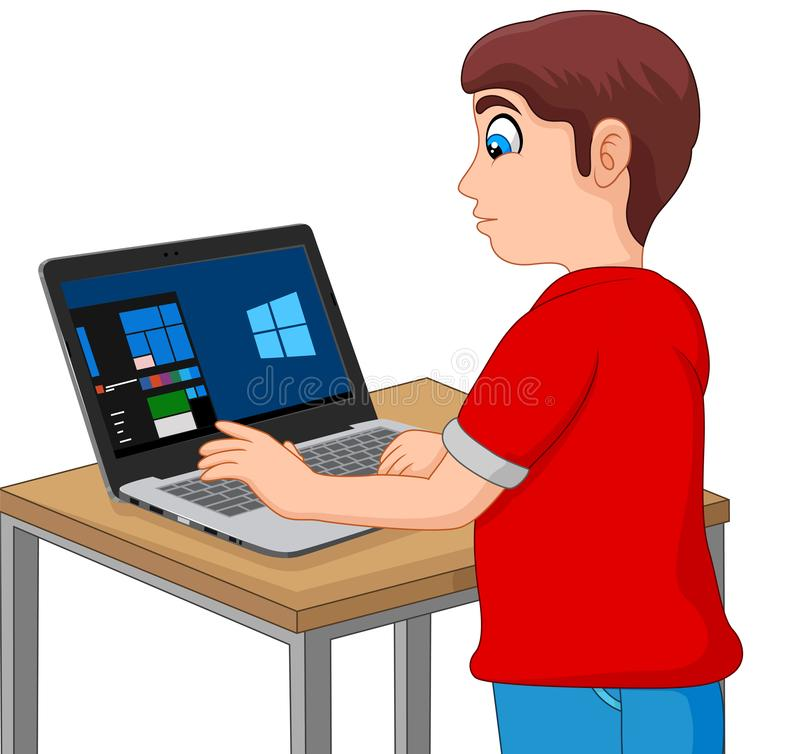 Boy Taking a Computer Based Test on His Laptop vector illustration