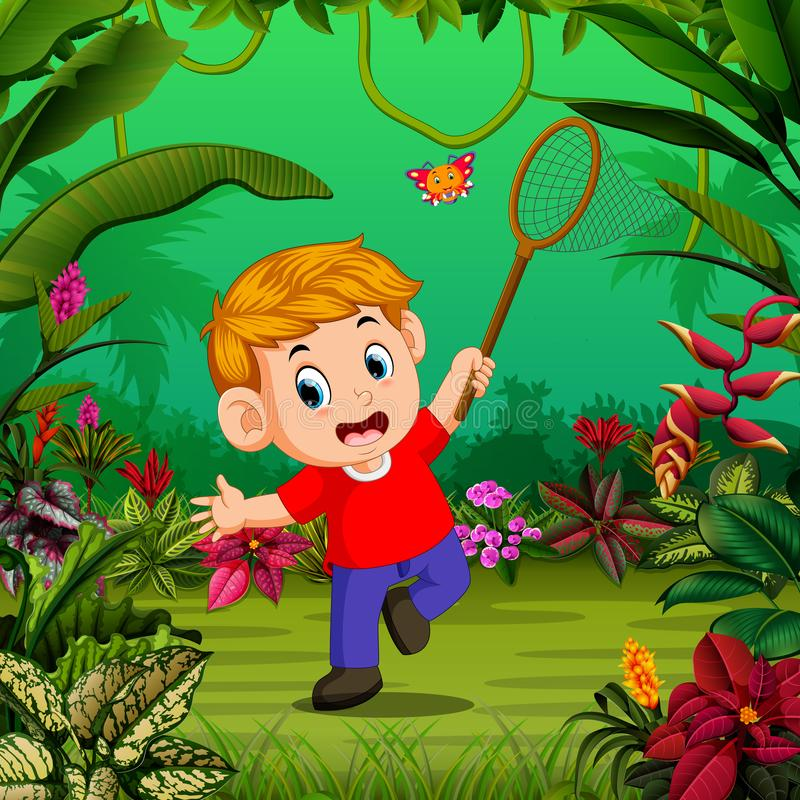 The boy tries to catch a butterfly in the forest. Illustration of the boy tries to catch a butterfly in the forest vector illustration