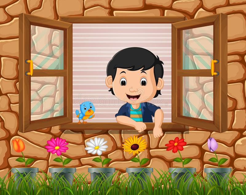 A boy at the window with birds. Illustration of a boy at the window with birds stock illustration