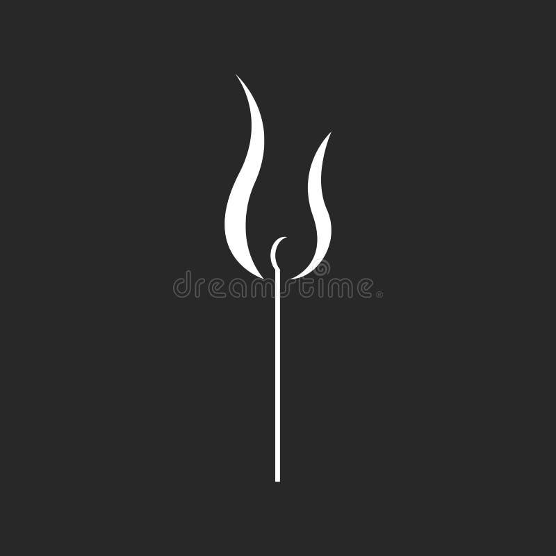 Illustration brûlante de match dans le style minimaliste, copie noire et blanche pour le T-shirt ou affiche de sécurité de hippie illustration libre de droits